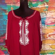 Catherines 26/28 Plus Size 3X Top Burgundy White Embroidery Tunic 3/4 Sleeves