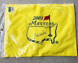 2003 Masters Champion MIKE WEIR signed auto Pin Flag PGA Golf Augusta National