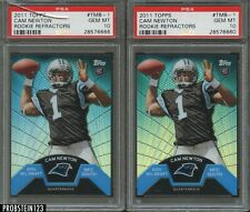 Lot of (2) 2011 Topps Rookie Refractor Cam Newton Panthers RC PSA 10