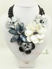 N12062339 white MOP shell white Zebra shell flower necklace earrings set