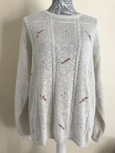 Ladies Tulchan Cream Ivory Linen Cotton Floral Embroidered Knit Jumper Size Xl