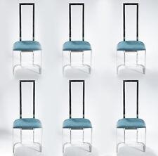 6 chaises italiennes métal et plexiglass retapissées 1970