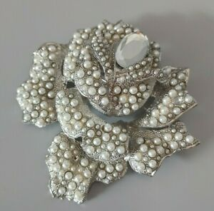 Statement Big Silver Tone White Faux Pearl Beaded Flower Costume Pin Back Brooch
