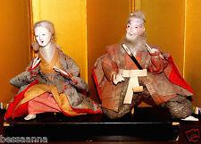 Rare Signed Lg. Antique Gofun Asian Japanese Aged Man Woman Dolls DA4161412nn