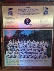 1986 DENVER BRONCOS SUPER BOWL XXI CHAMPIONS WOOD WALL PLAQUE POSTER 13X16