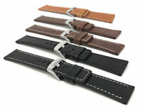 Bandini Mens Leather Watch Band Strap - Square Tip, 2 Colors, 22 24 26 28 30mm