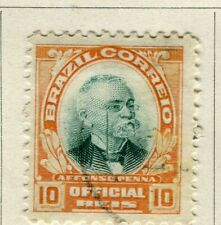 BRAZIL; 1906 early Penna Official issue fine used 10r. value
