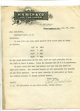 Vintage Illustrated Letterhead HS RICH & CO COTTON YARNS Providence RI 1922