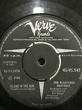 THE RIGHTEOUS BROTHERS what now my love/island in the sun RARE SINGLE  INDIA VG+