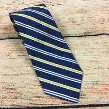 J. CREW Blue Lime Green Striped Silk Mens Neck Tie