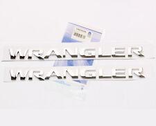 2x Chrome OEM WRANGLER Nameplates EMBLEM Badge 3D for Jeep REPLACEMENT  yu Fu