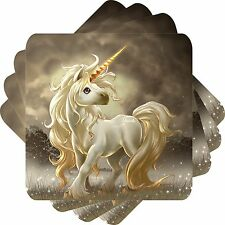 Young Unicorn Set of 4 Square Coasters Bar Table