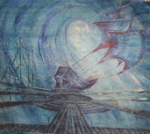 Vintage Surrealist Futurist Gouache/Pastels Painting Ships