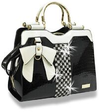 Bling Embossed Black Patent Bow Accent Handbag Attachable Strap