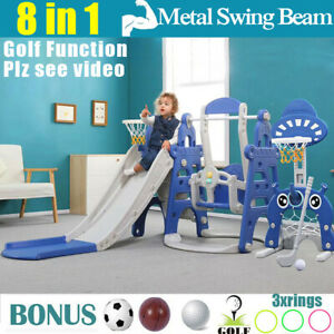 Kids Slide and Swing PlaySet Basketball Hoop Toddlers Playground Activity Center