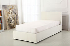 Boston White 3ft Single Deep Ottoman Leather Storage Gas Lift Up Bed Strong