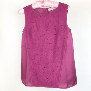 Nicole Richie Collection Women's Sz XXS Plum Sleeveless blouse Faux Suede Top