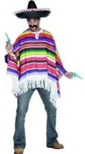 Smiffys Poncho Mexican Mens Fancy Dress Party Costume One Size Multi Coloured