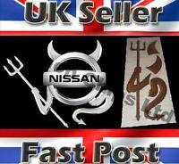 Nissan Micra 3D Dome Devil Demon Car Sticker Decal Badge Silver Chrome Graphics