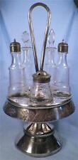 Victorian Silver Plate Castor Set 5 Glass Cruets Jars Antique Meriden