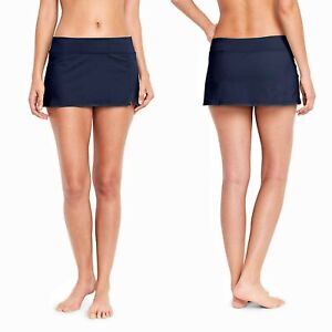 Lands' End Sporty dark navy mini swim skort swim skirt attached swim bottoms