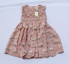 Mini Boden Girl's Smocked Woven Zip-Up Dress KT4 Boto Pink Lambs Size 7-8Y NWT
