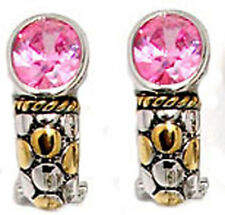 earrings pink swarovski cz stones half hoop cable 2 tone white yellow plate NWT
