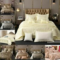 Luxury 5PC Jacquard Satin Silk Duvet Cover Bedspread Cushion Pillow Bedding Set