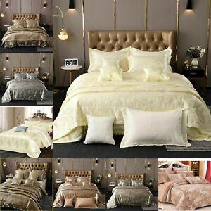 Luxury 5PC Jacquard Satin Silk Duvet Cover Bedspread Cushion Pillow Bedding Set