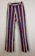 """Womens Mens 70s Striped Flared Bell Bottom Festival Jeans W26/27"""" Leg 33"""""""