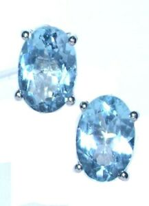 Swiss Blue Topaz Sterling Silver stud Earrings Solitaire Genuine Gems Birthstone