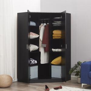 2 Door Corner Wardrobe In Matt Black Bedroom Furniture 10 Shelf Storage Cupboard