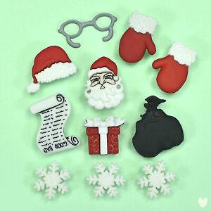 DRESS IT UP Buttons Waiting For Santa 1426 - Tree Santa Reindeer Sleigh