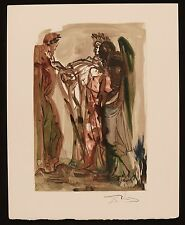 "SALVADOR DALI SIGNED ORIGINAL DIVINE COMEDY PRINT ""THE PROUD"" JSA LOA"