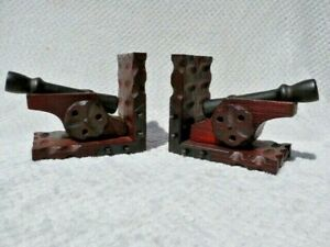 PAIR VINTAGE SPANISH STYLE CARVED WOODEN CANNON BOOKENDS