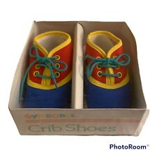 NEW NOS Vtg Gymboree 1990 Size 2 Baby Shoes Red Yellow Green Blue Box 6-9 Months