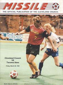 1991 Cleveland Crunch vs. Tacoma Stars MISL Soccer Program - Bernie James #FWIL