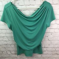 Ann Taylor Green Ruched Cowl Top Women's Size Medium Stretchy Blouse Career