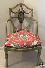 Hand Painted Portrait Shield Back Carved Wood Arm Chair with Cane