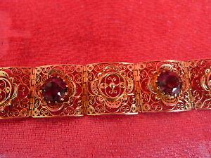 Noble, Vieux Bracelet __ 925 Argent Plaqué Or __ 3 Gr. Verte Pierres ___ 46, 3g_