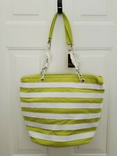 Picnic at Ascot Lime Green & White Striped Insulated Cooler Tote Bag