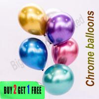 "10"" Metallic Latex Balloons Chrome Bouquet Wedding Birthday Party Supplies UK"