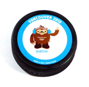 2010 Vancouver Olympic Winter Games Quatchi Logo Hockey Puck