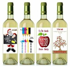 Teacher Thank You Gift Personalised Wine Labels (set 2) 12.7cm x 8.4cm