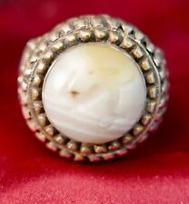 Antique Agate and Silver Signet Ring from Afghanistan,  19th c,  size 9 1/2