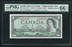 BC-37aA 1954 $1 BANK OF CANADA BANKNOTE REPLACEMENT/STAR PMG GEM UNC-66EPQ