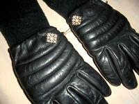 vintage 80`s Lederhandschuhe Handschuhe Leder schwarz oldschool Ski winter Gr.7