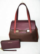 ef41678762fa ETRO Dramatic PURPLE RED BROWN COLOR BLOCK TOTE & MICHAEL KORS WALLET NWT  $2348