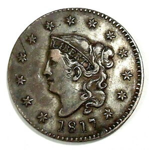 USA - Coronet Large CENT 1817 - EXCELLENT Condition - SCARCE - NO RESERVE
