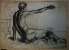 Russian Ukrainian Soviet Graphite Painting male nude figure man realism